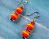 Clearance / Sale Orange / Red / Yellow Striped Dangle / Drop Earrings with Silver Accents item EG2