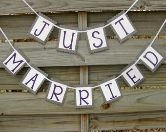 Just Married Banner in Grey and Purple - Wedding Bunting Decoration