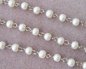 Off White Ivory Glass Pearl 6mm Beaded Rosary Link Chain Silver 962