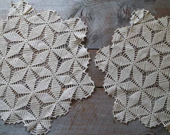 Antique Crochet Lace Doilies, Star Pattern, Vintage Textiles, Home and Living, Sewing Supplies, Crafts Supplies