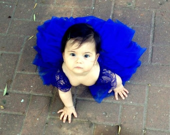 ROYAL BLUE Chantilly French lace and silk tulle flower gilr dress royal blue dress for baby girl royal blue tutu dress royal