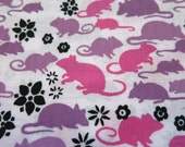 Cute Rat or Sweet Mouse? - hand printed cotton fabric RARE