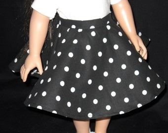 Circle Skirt Black with White Dots 18 inch Doll Handmade