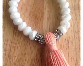 Beaded tassel bracelet,tassel bracelet,tassel jewelry,white glass beaded bracelet,gifs under 20,made in canada,gift for her,arm candy,stacks