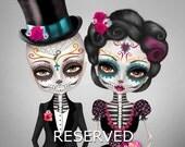 Custom illustration - Sugar Skull Wedding - Day of the Dead