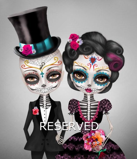 Custom illustration sugar skull wedding day of the dead for Sugar skull wedding dress