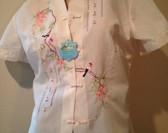 Vintage embroidered blouse Daffodil large