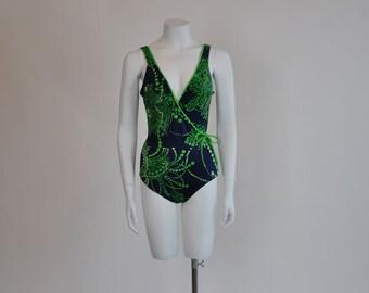 80s swimsuit / Op Art Vintage 1980's De Weese Bathing Swim Suit