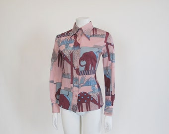 70s top / Moonrise Animal Kingdom 1970's Vintage Shirt
