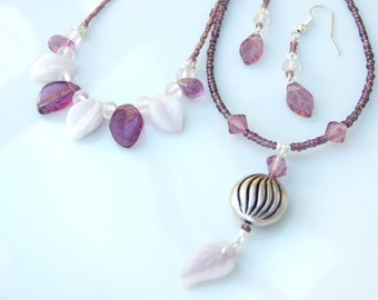 Layered SET - Purple & Slight Pink Czech Leaves TWO Necklaces and Earrings