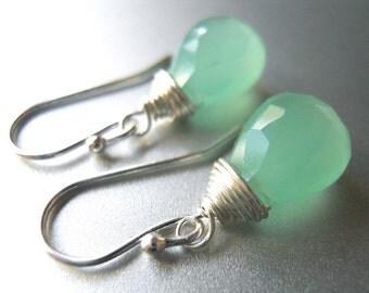 Mint Green Chalcedony gemstone earrings, Minty Fresh Teeny earrings, Mint Green Dangle Earrings, Gemstone Earrings
