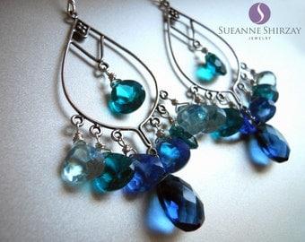 Sapphire Blues, Sea Breeze Multi color Blue quartz Earrings, ALL amazing quartz, SEE VIDEO, London Blue, Aquamarine Quartz, Chandelier,