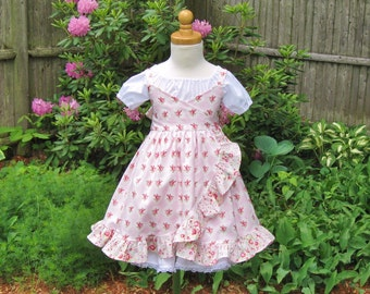 Pink shabby roses, cross front, ruffled dress, white petticoat, peasant dress, toddler,  size 2T, Ready to ship, cottage chic, Valentine