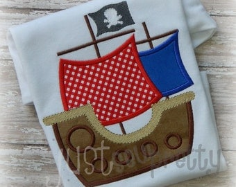 Pirate Ship Embroidery Applique Design