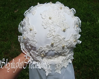 Wedding Bouquet Upcycled from Vintage Gown