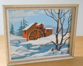 Vintage Paint By Numbers • Framed Winter Mill • Gold Ivory Pink Splattered Wood Frame