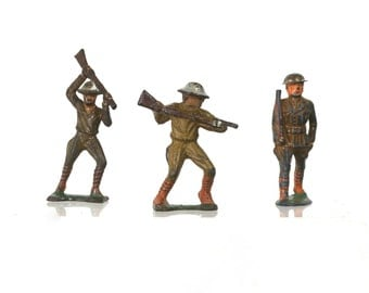1940s Toy Army Soldier Set by Barclay, Vintage Lead Toys for Boys