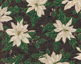 Hoffman Christmas Metallic Winter Impressions 8372 4 Black White Poinsetta by the yard