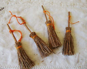 """Mini brooms natural twig brooms 3"""" witch broom Halloween crafts supplies embellishments Country Cottage crafting supply"""