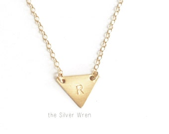 Tiny Triangle Necklace, Initial Necklace, Dainty Necklace, Silver, Gold, Rose Gold Initial Jewelry, Personalized Necklace, Dainty Jewelry