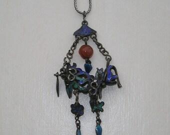 Antique Chinese Enamel cloisonne Coral Pendant Drop Necklace