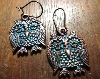 Owl Earrings, Patina Metal, Whimsical Bird Jewelry