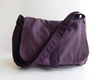 Sale - Plum Canvas Messenger bag, Handbag, School Bag, Diaper Bag, Tote, Crossbody, Laptop, Purse, Women - ERIN