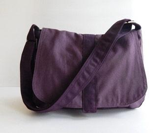 Sale - Plum Canvas Messenger bag, Handbag, School Bag, Diaper Bag, Tote, Crossbody, Laptop, Purse, Women - ERIN
