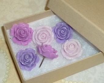 Push Pin Thumb Tacks Decorative Resin Rose Flower Cabochons- Set of 6 Shades of Purple Lavender Flower Push Pins