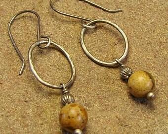Picture Jasper Oval Hoop Sterling Silver Dangle Drop Earrings