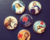 Vintage Red Cross Magnets set of 6