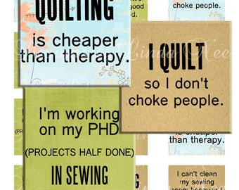 NEW- Quilting and Fabric Quotes 2 (1 x 1 inch) Images - Digital Collage Sheet printable stickers magnet button (Sewing, Fabric)