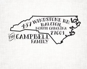 North Carolina Personalized Return Address State Stamp