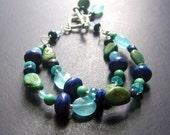Turquoise Bracelet, MultiStone Bracelet, Aqua Gemstone Beaded Bracelet, Two Strand Beaded Bracelet