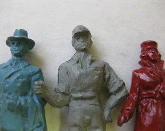 Vintage EIRE Lead Figurine Train People Miniature Lot of 3