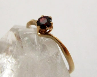 Gold Ring, 9k Gold, 9ct Gold, Garnet Ring, Skinny Ring, Stacking Ring, Thin Gold Ring, Thin Ring, US Size 6, UK Size L Half