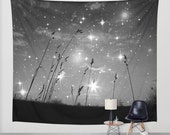 Only the stars and me Wall Tapestry, Black and White Tapestry, Night Sky Home Decor Grass Beach Space Nature Tapestry Dorm Privacy Screen