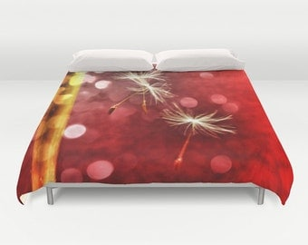 Red Duvet Cover, Dandelion Decorative bedding, unique design, modern, Nature comforter cover, Make a wish, Holiday, Dreamy, Whimsy, Love