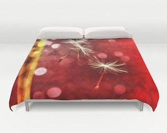 Red Duvet Cover, Dandelion Decorative bedding, unique design, modern, Nature comforter cover, Make a wish, Holiday, Dreamy, Whimsy,Love,Dorm