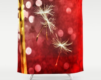 Red Shower Curtain, Dandelion Bathroom, Make a Wish Home Decor, Whimsy Photo Shower Curtain, Nature, Love Home Decor, White, Interior Design