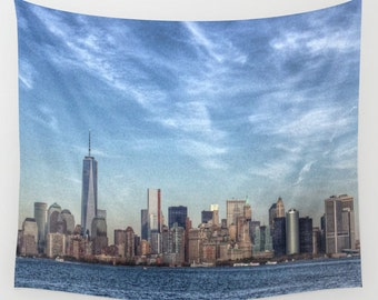 New York Tapestry, HDR Manhattan Tapestry, Landscape Wall Tapestry, City Photography, urban, Blue wall art, modern, dreamy, outdoor, garden