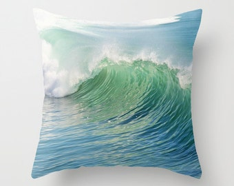 Ocean Throw Pillow, Waves Pilow, Outdoor, Patio, Decorative Pillow, Nature Cushion,Wedding Gift, Nautical, Surf, Beach, Ocean Blue Green