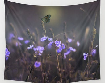 Purple Flowers Tapestry, Butterfly Tapestry, Dreamy Large Wall Decor, Wild Flowers Tapestry, Nature Tapestry, Calm Tapestry, Whimsical Art
