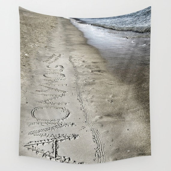 Anonymous Tapestry, Ocean, Writing in Sand, Nautical, Coastal Large Wall Decor, Photo Tapestry,Modern Decor, Wall Hanging, Nature,Beach,Dorm