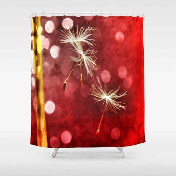 red shower curtain dandelion bathroom make a wish home