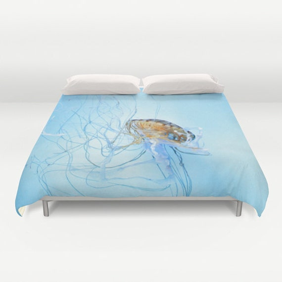 Jellyfish Duvet Cover, Ocean Blue Decorative bedding, Dorm, Nature, Nautical comforter cover, Aqua Blue bedroom, Surf, Water, Ocean Blue