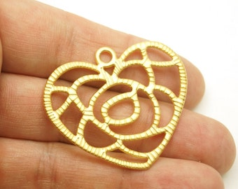 1pc -Matte Gold Plated Heart Charm-36x42mm -(024-031GP)