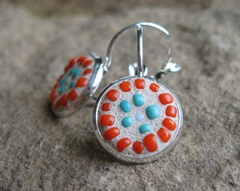 Turquoise and Orange Seed Bead Mosaic Leverback Earrings