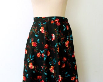 50% off SALE - Rose Print Skirt / Rose Skirt / Semi-sheer Chiffon Skirt /