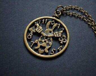 alice in wonderland white rabbit clock necklace